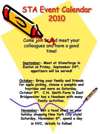 STA Event Calendar 2010