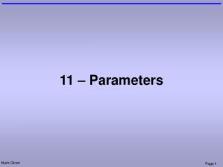 11 � Parameters