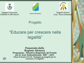 """Progetto """"Educare per crescere nella legalità"""""""