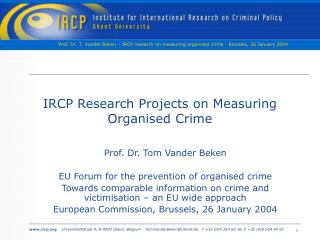 IRCP Research Projects on Measuring Organised Crime
