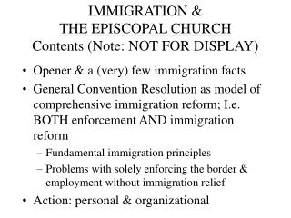 IMMIGRATION &  THE EPISCOPAL CHURCH Contents (Note: NOT FOR DISPLAY)