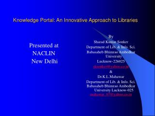 Knowledge Portal: An Innovative Approach to Libraries