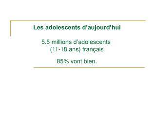 Les adolescents d'aujourd'hui 5.5 millions d'adolescents  (11-18 ans) français 85% vont bien.