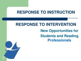 RESPONSE TO INSTRUCTION ________________________________ RESPONSE TO INTERVENTION