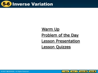 Section 1 Inverse Variation