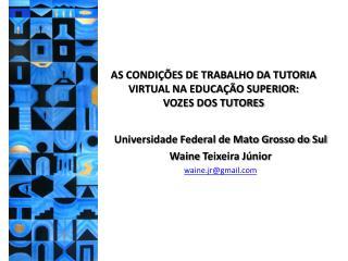 AS CONDIÇÕES DE TRABALHO DA TUTORIA VIRTUAL NA EDUCAÇÃO SUPERIOR:  VOZES DOS TUTORES