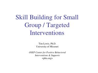 Skill Building for Small Group / Targeted Interventions