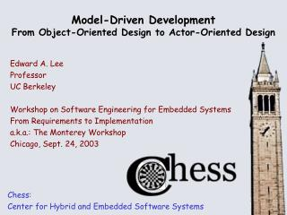Model-Driven Development From Object-Oriented Design to Actor-Oriented Design