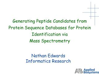 Nathan Edwards Informatics Research