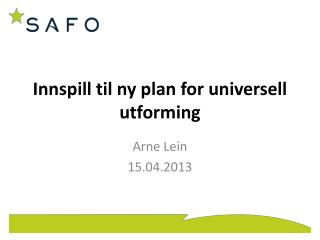 Innspill til ny plan for universell utforming