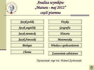 """Analiza wyników  """"Matura - maj 2012"""" część pisemna"""