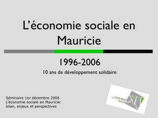 L'économie sociale en Mauricie