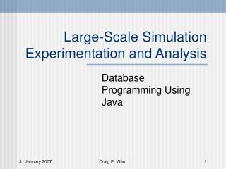 Large-Scale Simulation Experimentation and Analysis