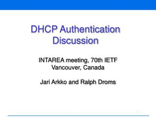 DHCP Authentication Discussion