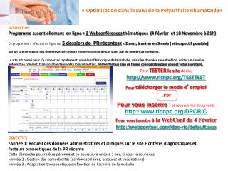 «Optimisation dans le suivi de la Polyarthrite Rhumatoïde»