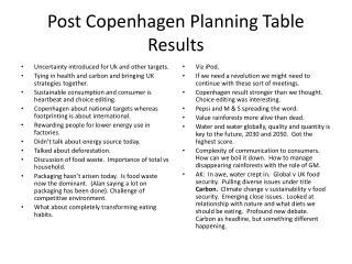Post Copenhagen Planning Table Results