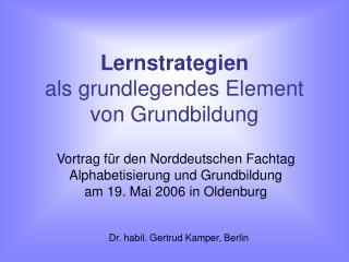 Lernstrategien  als grundlegendes Element von Grundbildung