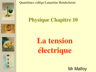 Physique Chapitre 10