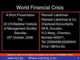 World Financial Crisis