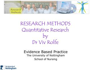 RESEARCH METHODS Quantitative Research by Dr Viv Rolfe