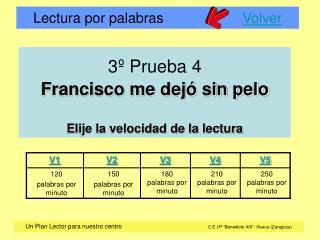 3º Prueba 4 Francisco me dejó sin pelo Elije la velocidad de la lectura