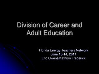 Division of Career and Adult Education
