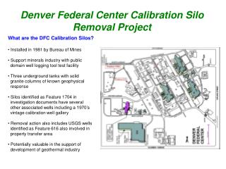 Denver Federal Center Calibration Silo Removal Project