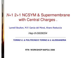 N =1 2+1 NCSYM & Supermembrane with Central Charges .
