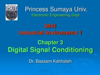 3441 Industrial Instruments 1 Chapter 3 Digital Signal Conditioning