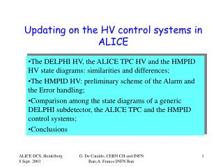 Updating on the HV control systems in ALICE