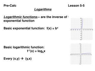 Pre-Calc                                                           Lesson 5-5     Logarithms