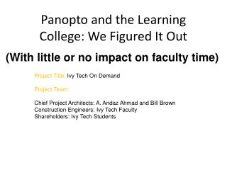 Panopto and the Learning College: We Figured It Out