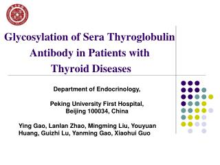 Glycosylation  of Sera  Thyroglobulin Antibody in Patients with  Thyroid Diseases
