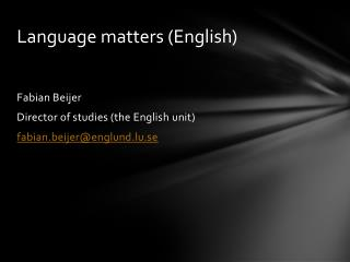 Language matters  (English)