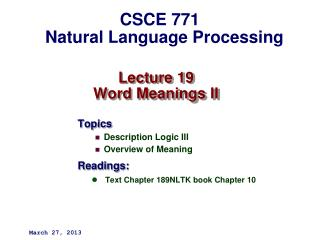 Lecture 19 Word Meanings II
