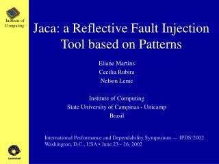Jaca: a Reflective Fault Injection Tool based on Patterns