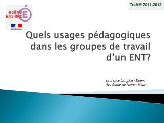 Quels usages pédagogiques dans les groupes de travail d'un ENT?