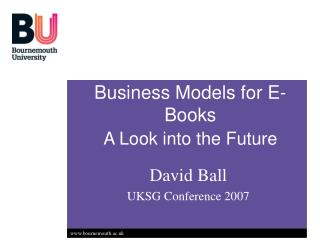 Business Models for E-Books A Look into the Future