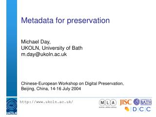 Metadata for preservation
