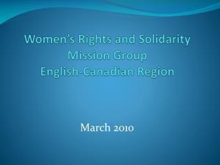 Women's Rights and Solidarity Mission Group English-Canadian Region