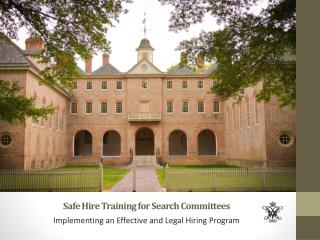 Safe Hire Training for Search Committees