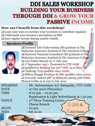 BUILDING YOUR BUSINESS THROUGH DDI  & GROW YOUR  PASSIVE  INCOME