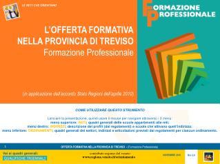 L�OFFERTA FORMATIVA NELLA PROVINCIA DI TREVISO Formazione Professionale