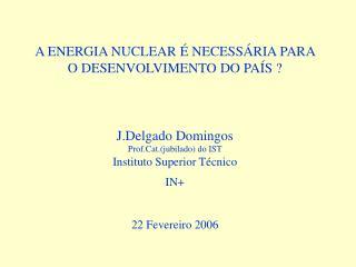 A ENERGIA NUCLEAR � NECESS�RIA PARA O DESENVOLVIMENTO DO PA�S ? J.Delgado Domingos
