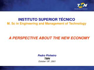 Pedro Pinheiro TMN October 19 th , 2001