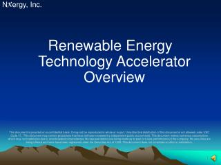 Renewable Energy Technology Accelerator Overview