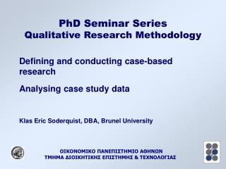 PhD Seminar Series Qualitative Research Methodology
