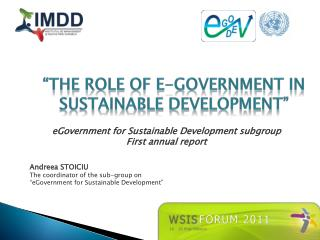 """THE ROLE OF E-GOVERNMENT in SUSTAINABLE DEVELOPMENT"""