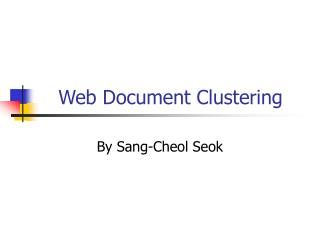 Web Document Clustering