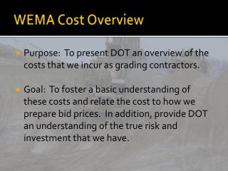 WEMA Cost Overview